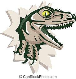 Raptor Head Breaking Out Wall Retro