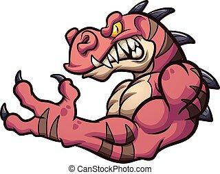 Raptor mascot - Strong angry cartoon raptor mascot. Vector ...