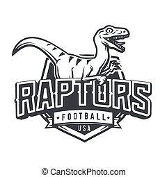 Raptor sport logo mascot design. Vintage college team coat of arms. Dino vector logotype template. Sportswear shop t-shirt illustration concept.