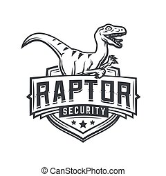 Raptor sport logo mascot design. Vintage college team coat of arms. Military Dino vector logotype template. Airsoft squad t-shirt illustration concept
