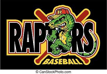 raptors baseball team design with mascot for school, college...