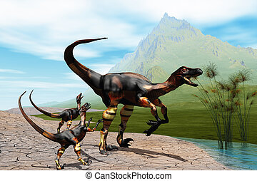 RAPTORS -  Mother Raptor dinosaur with her two young babies.