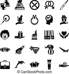 Rapture icons set, simple style - Rapture icons set. Simple...