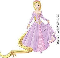 rapunzel, bonito, princesa