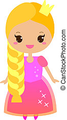 Rapunzel. Cute fairy tale character in kawaii style