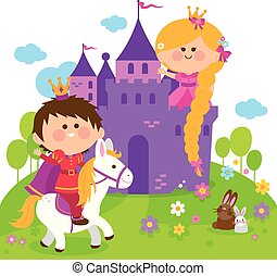 Beautiful princess with long hair at a castle, and a prince riding a horse. Vector illustration
