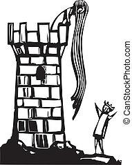 Rapunzel's Tower - Fairytale woodcut image of long hair ...