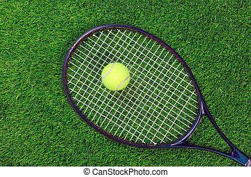 raquet, 网球, 草