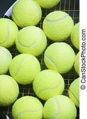 raquet, boules tennis, instruments à cordes, abondance