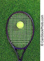 raquet, tennisball, gras