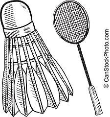raqueta, bosquejo, pajarito bádminton