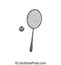 raqueta, círculos, pelota, opacidad, noisy., isolated., ...