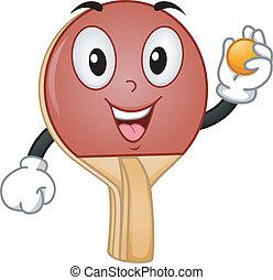 raqueta del tenis de mesa, mascota