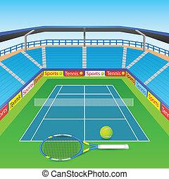 raqueta del tenis, y, pelota