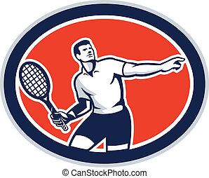 raqueta, jugador, tenis, retro, oval