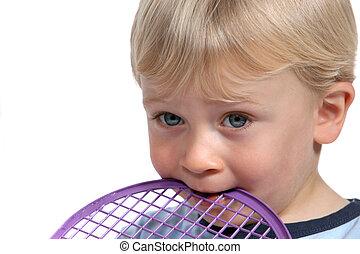 raqueta, morder, niño