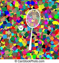 raqueta, pelota, ba, colorido, signo., tenis, vector., ...