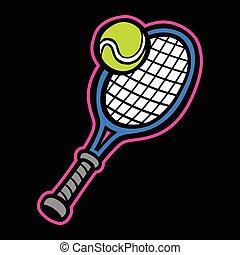 raqueta, pelota de tenis, y