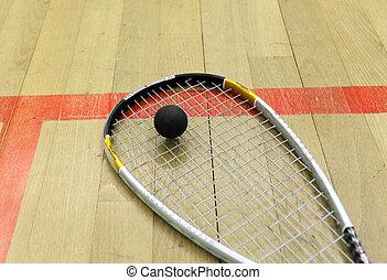 raqueta, pelota, tribunal, calabaza