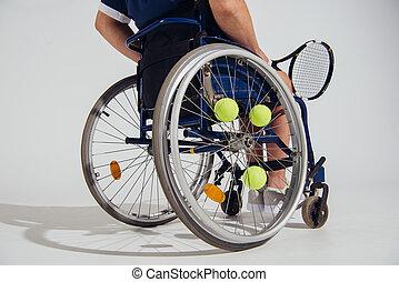 raqueta, pelotas, sentado, sílla de ruedas, tenis, aislado, ...