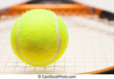 raqueta, resumen, pelota de tenis, cuerdas