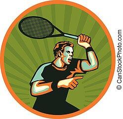 raqueta, retro, jugador, círculo, tenis