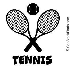 raqueta, tenis, cruzado, pelota