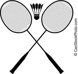 raquetas del bádminton, y, pelota