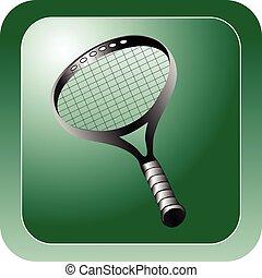 raquetas del tenis, brillante, verde, icono