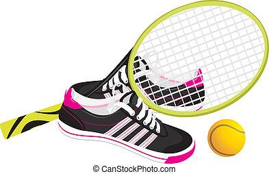 raquete, sapatos tênis, treinadores