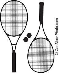raquete, silhuetas, tênis