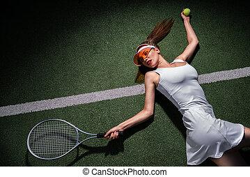 raquette, belle femme