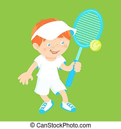 raquette, garçon, badminton