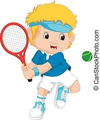 raquette, garçon, tennis, jeune, jouer