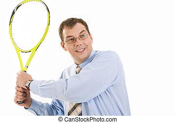 raquette, homme affaires, tennis