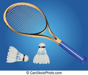 raquette, navette, badminton, deux