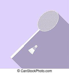 raquette, plat, illustration., objets, badminton., tennis, isolé, équipement sports, sports., vecteur, shuttlecock.