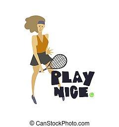 raquette, tennis, femme, joueur boule