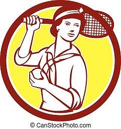 raquette, vendange, joueur tennis, retro, femme, cercle