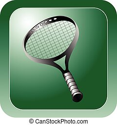 raquettes tennis, brillant, vert, icône