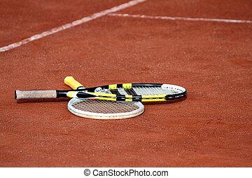 raquettes tennis, sur, a, cour argile