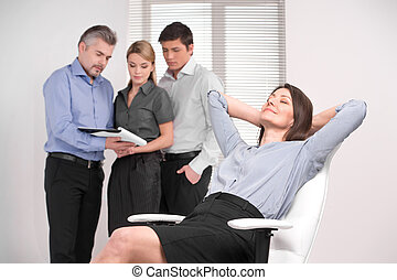 rar, arbejder, har, firma, drømme omkring, baggrund, stol, voksen, hold, pause, vocation., sløre, dame, hvid
