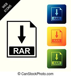 RAR file document icon. Download RAR button icon isolated. Set icons colorful square buttons. Vector Illustration