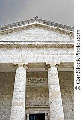 Rare ancient Greek temple alike, orthodox church at Corfu