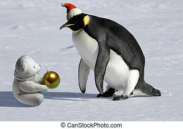 Penguin meets icebear on Christmas