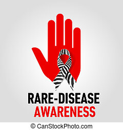 Rare-Disease Awareness sign sign. Red hand with zebra-print...