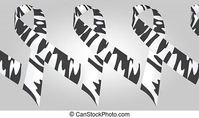 Rare-disease awareness zebra-print ribbons. Loopable motion...