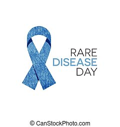 Rare Disease Day - Rare disease day emblem, blue denim...
