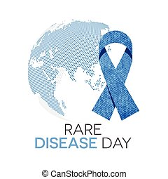 Rare Disease Day - Rare disease day emblem, denim ribbon and...