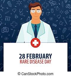 rare, illustration., monde médical, 28, maladie, day., holiday., vecteur, médecine, february.